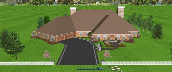 image of landscape design rendering, perspective view