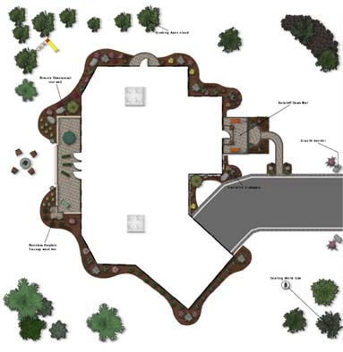 image of landscape design plan, overhead view